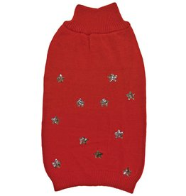 S-SEQUIN STARS SWEATER RED