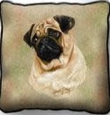 Tapestry Pillow - Pug, Tan