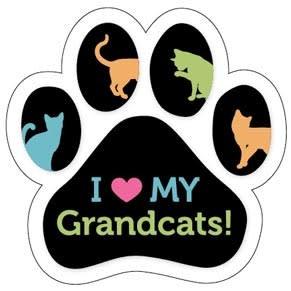 Paw/Ribbon Magnet -I love my Grand Cats