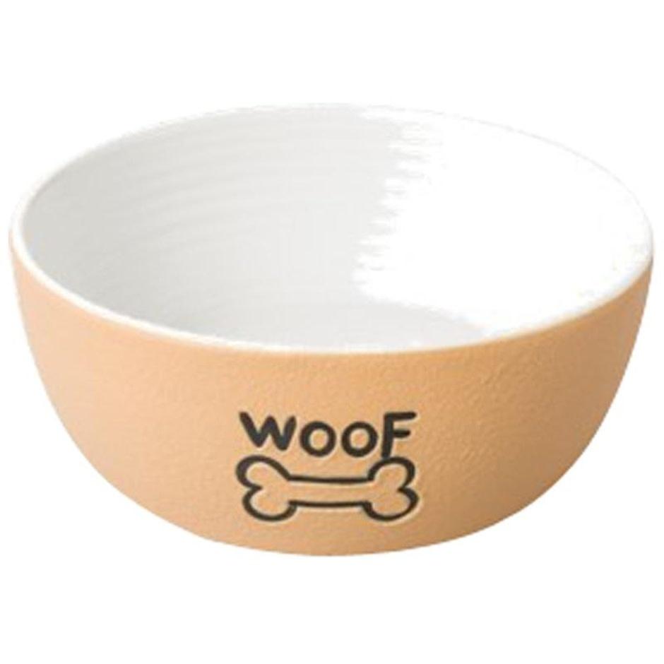 "7"" Ceramic Tan Dog Dish ""Woof"""