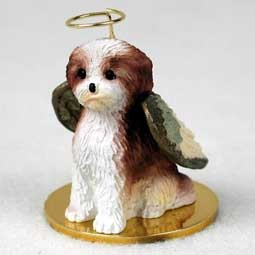 Angel Ornament Shih Tzu Brown/Wht Sport