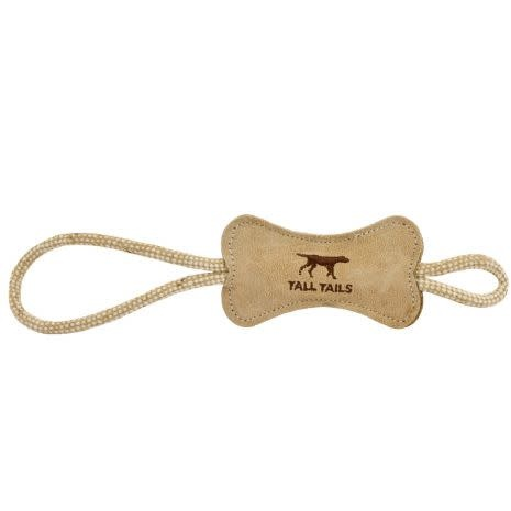 Tall Tails 12 in Leather & Wool Bone Tug Toy