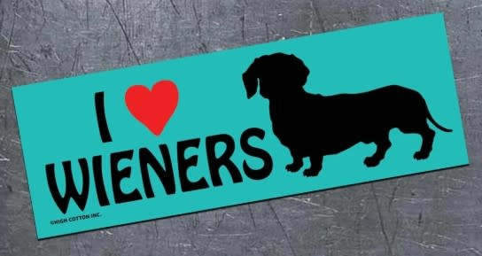 Mag Bumper Sticker -  I Love Wieners