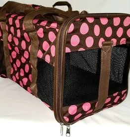 Medium Brown W/Pink Dot Carrier - 16