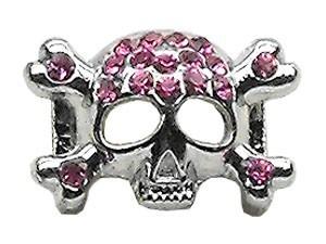 """3/8"""" Skull Slider Charm Pink 3/8'' (10mm)"""