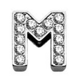 "M - 3/8"" Clear Bling Letter Sliding Charms"