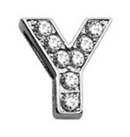 "Y - 3/8"" Clear Bling Letter Sliding Charms"