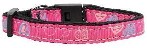 Crazy Hearts Nylon Collars Bright Pink Small