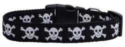 Black Skulls Nylon Ribbon Dog Collars Large
