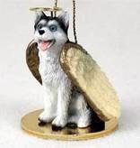 Angel Ornament Husky-Black/White-Blue Ey