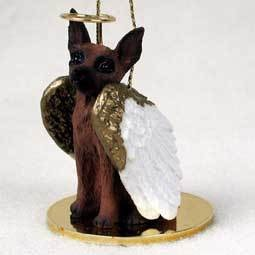 Angel Ornament Miniature Pinscher-Red/Bro