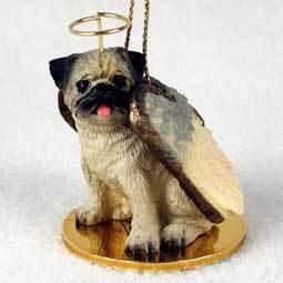 Angel Ornament Pug-Brown