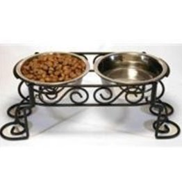 "Stainless Elevated 3.5""H Scroll Feeder, 1 Pint each bowl"