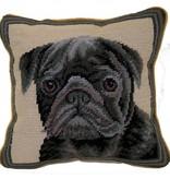 "1o"" Pillow Pug-Black"