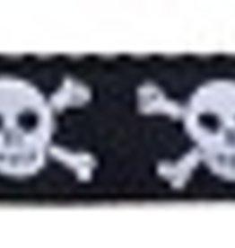 Black Skulls Nylon Leash 1 wide 6ft Leash