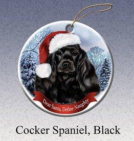 Pet Gifts Round Ornament Cocker Spaniel Black