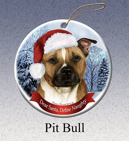 Pitbull Christmas Ornament.Pet Gifts Round Ornament Pitbull