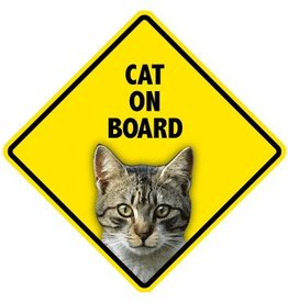 Pet On Board Sign Cat-Tabby