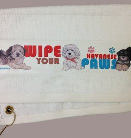 Havanese Black Paw/Slobber Towel
