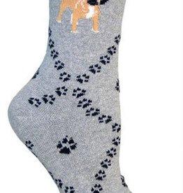 Puggle on Gray Socks