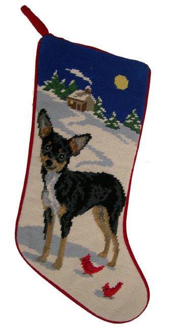 Christmas Stocking Chihuahua Blk/Tan
