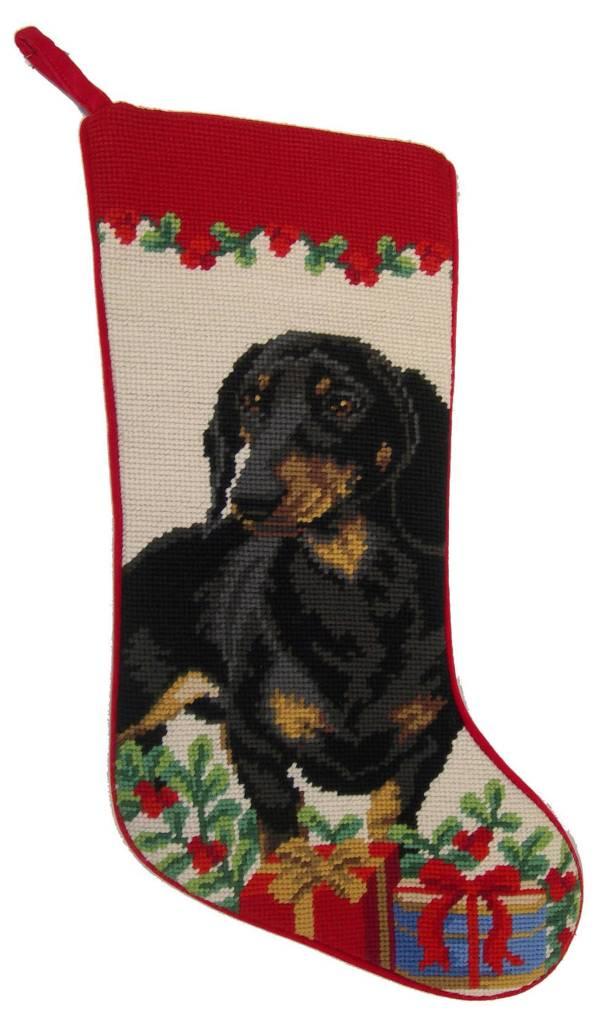 Christmas Stocking Dachshund BLK