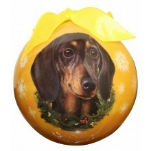 Ball Ornament - Dachshund Black)