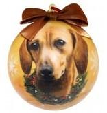 Ball Ornament - Dachshund (Red)
