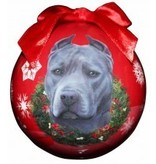 Ball Ornament - Pit Bull (Blue)