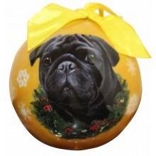 Ball Ornament - Pug (Black)