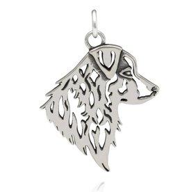 Sterling Silver Australian Shepherd Pendant