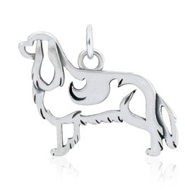 Sterling Silver Cavalier King Charles Spaniel Pendant, Body
