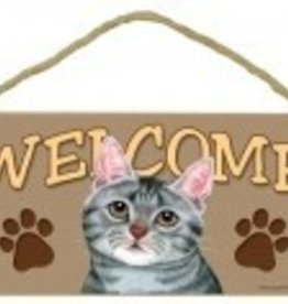 Wood Sign Cat-Grey Welcome sign