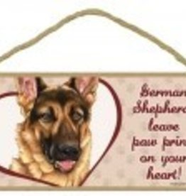 Wood Sign German Shepherd  leave paw prints on your heart!