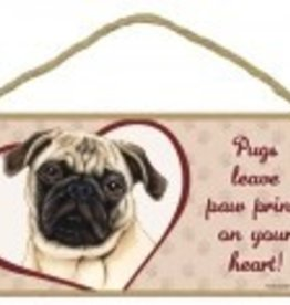Wood Sign Pugs (Tan) leave paw prints on your heart!