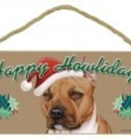 Happy Howlidays Pitbull Christmas Sign