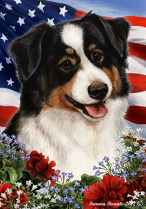 Large Flag Australian Shepherd Black Tri