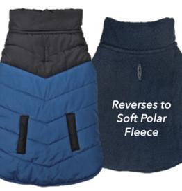 M - FASHION PET Color Block Puffer Jacket Blue