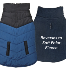 S - FASHION PET Color Block Puffer Jacket Blue