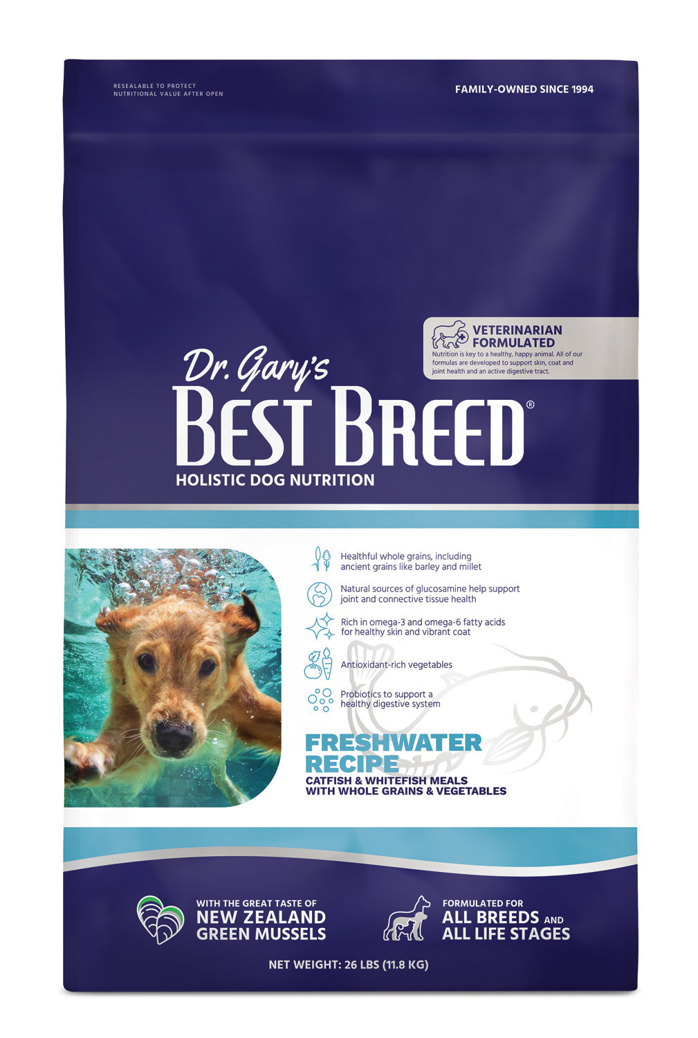 Dr. Gary's Best Breed Dr. Gary's Best Breed FRESHWATER RECIPE Catfish & Whole Grains-26 lbs