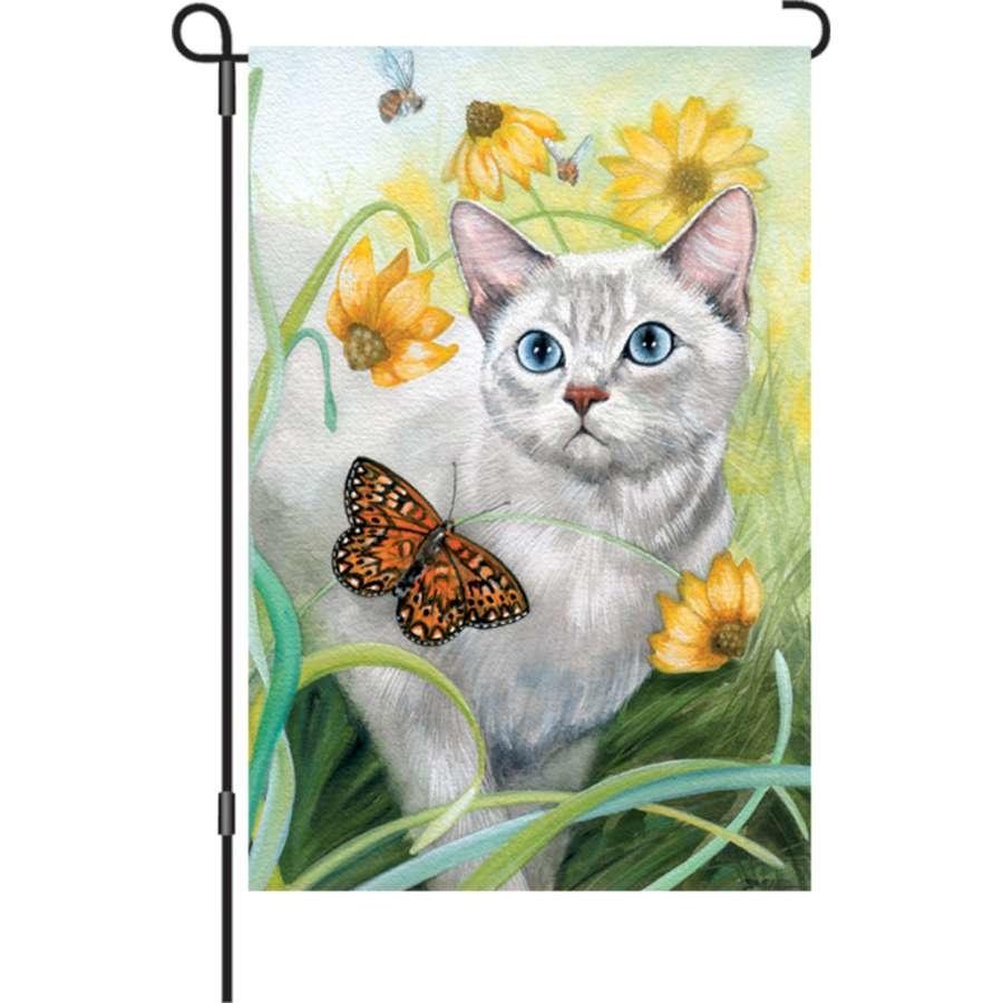 Small Flag Cat-Gray