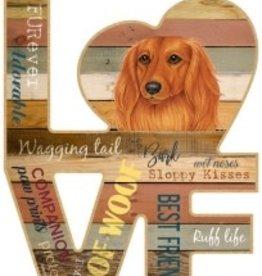 Wood Love Sign-Dachshund (Long hair) LOVE
