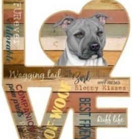 Wood Love Sign-Pitbull (Gray color) LOVE