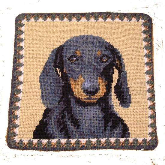 "1o"" Pillow Dachshund-Black"
