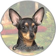 Absorbent Car Coaster - Chihuahua, Black