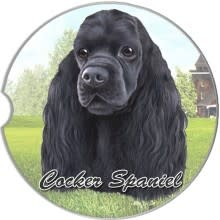 Absorbent Car Coaster - Cocker Spaniel, Black