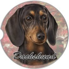 Absorbent Car Coaster - Dachshund, Black