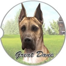 Absorbent Car Coaster - Great Dane, Tan