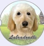 Absorbent Car Coaster - Labradoodle, Cream