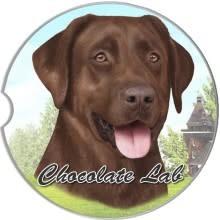 Absorbent Car Coaster - Labrador, Chocolate